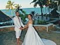 Wedding Couple at the pool E&L